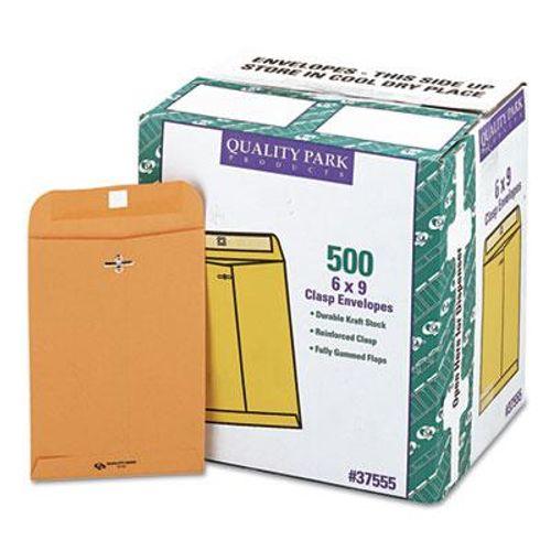 Quality Park Clasp Envelope #55 6 x 9 28lb Brown Kraft 500//Carton 37555