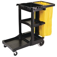 Rubbermaid Janitor Cart,​ Multi-Shelf,​ Black,​ Zippered Yellow 25 Gallon Bag