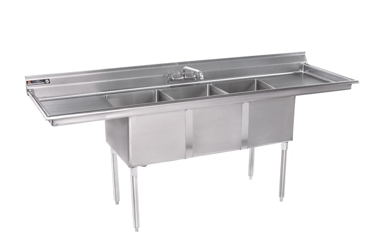 430 Stainless Steel Double Sink With Drainboard On Both Sides 27 W